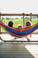 Vivere Hammocks Two Person Fabric Hammock with Stand Fabric: Denim