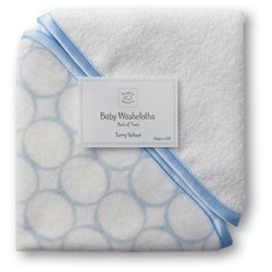 SwaddleDesigns Organic Cotton Baby Washcloth Set - Pastel Blue Mod Circles