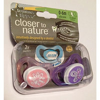Tommee Tippee Closer To Nature Tommee Tippee 2-Pack Closer to Nature Air Flow Pacifier - 0-6m Pink/Purple (Girl)