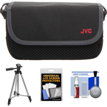 JVC CBV2013 Everio Video Camera Camcorder Case with Tripod + LCD Screen Protectors + Accessory Kit for GZ-E100, E300, E505, EX310, EX355, EX515, EX550, R10, R30, R70