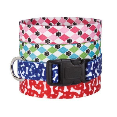 Casual Canine Pooch Patterns Pet Collar - Blue Argyle