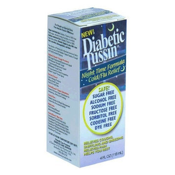 Diabetic Tussin Cold/Flu Relief, Night Time Formula, 4-Ounce Bottles (Pack of 3)
