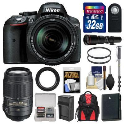 Nikon D5300 Digital SLR Camera & 18-140mm VR DX AF-S Lens (Black) with 55-300mm & 500mm Lenses + 32GB Card + Backpack + Battery & Charger + Monopod Kit
