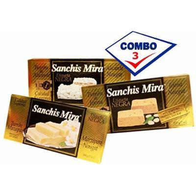 Sanchis Mira Turron Combo Pack 1 Jijona, 1 Alicante, 1 Mazapan. Pack of 3