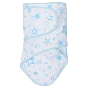 Miracle Industries Miracle Blanket Swaddle in Blue Stars with Blue Trim