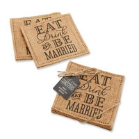 Kate Aspen Eat, Drink & Be Married Burlap Coasters