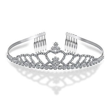 Bling Jewelry Silver Plated Echoing Heart Rhinestone Crystal Bridal Crown Tiara