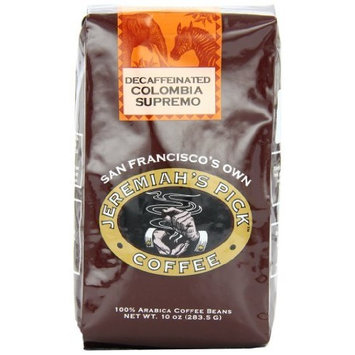 Jeremiah's Pick Coffee Colombia Supremo Decaf Whole Bean Coffee, 10-Ounce Bags (Pack of 3)