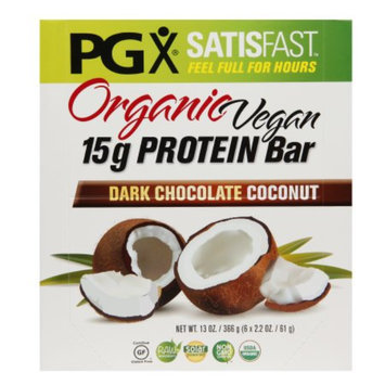 PGX SATISFAST Organic Vegan 15g Protein Bars, Dark Chocolate Coconut, 6 ea