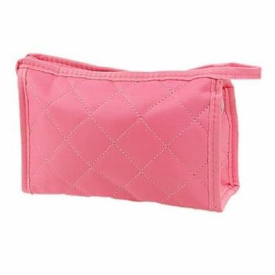 KingTECH Women Zipper Closure Small Cosmetic Case Makeup Bag (Pink)