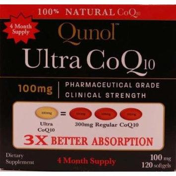 Qunol Ultra CoQ10 - 100% Soluble 100mg - 120 Softgels (Pack of 2)