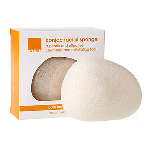 LATHER Konjac Facial Sponge - Pure, 1.1 oz