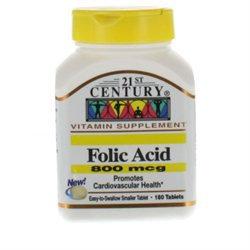 21st Century Healthcare Folic Acid 800 mcg 180 Tablets, 21st Century Health Care