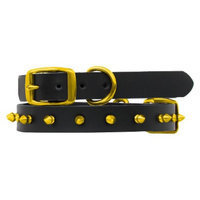 Platinum Pets Black Genuine Leather Dog Collar with Spikes - Gold