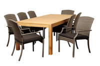 Orient 9 Piece Rectangular Teak/Synthetic Wicker Patio Dining Set with Grey Cushions