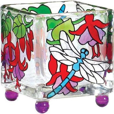 Joan Baker Designs Dragonfly Fuchsias Art Glass Tea Light Candle Holder Home Decor Gift Ideas