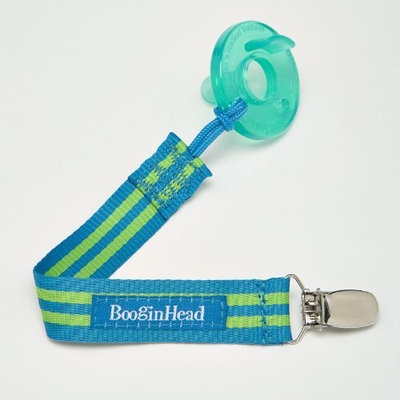 BooginHead Pacifier Holder, Blue Green Stripe (Discontinued by Manufacturer)