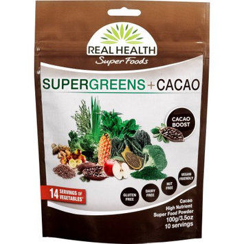 Real Health Super Foods Super Greens + Cacao High Nutrient Super Food Powder, 3.5 oz