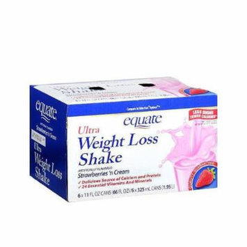Equate Ultra Weight Loss Shakes, Strawberries 'N Cream, 6 Shakes, 11-Ounce Box (Pack of 2)