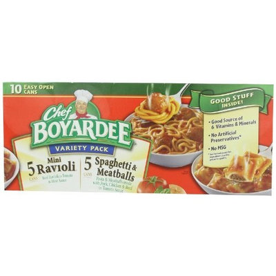 Boyardee Chef Variety Pack, 5 Ravioli, 5 Spaghetti and Meatballs in Tomato Sauce, 150 Ounce
