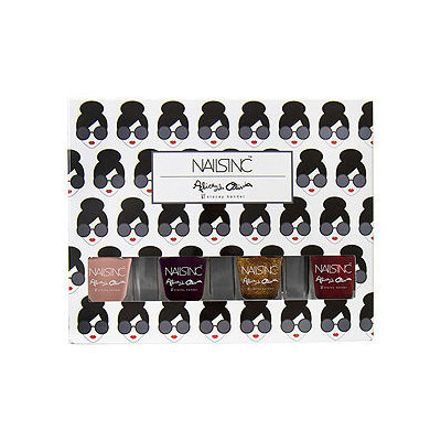 NAILS INC. alice + olivia by Stacey Bendet Mini Nail Set Next To Nothing/Ruby Night Sky/Gold Goddess/Paris Rouge 4 x 0.17 oz