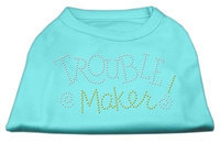 Mirage Pet Products 5280 XXLAQ Trouble Maker Rhinestone Shirts Aqua XXL 18