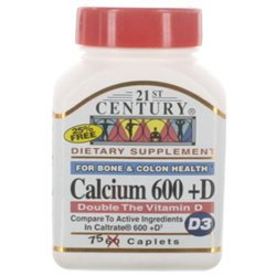 21st Century Healthcare Calcium 600 + D 75 Caplets, 21st Century Health Care