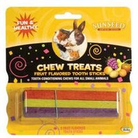 .Sun Seed Fruit Flavored Tooth Stix Chew Treats For Rabbits Guinea Pigs and Hamsters (4-oz pkg)