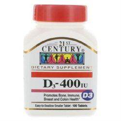 21st Century Healthcare Vitamin D 400 IU 100 Tablets, 21st Century Health Care