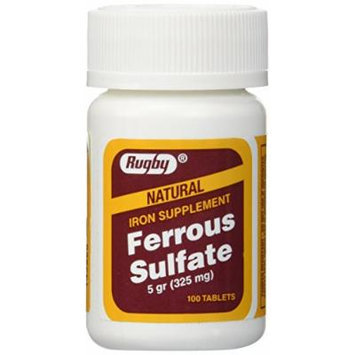 Ferrous Sulfate FC 325mg (5GR) Generic for Feosol Red Tablets 100 ea 3 PACK Total 300 tablets by Rugby Laboratories