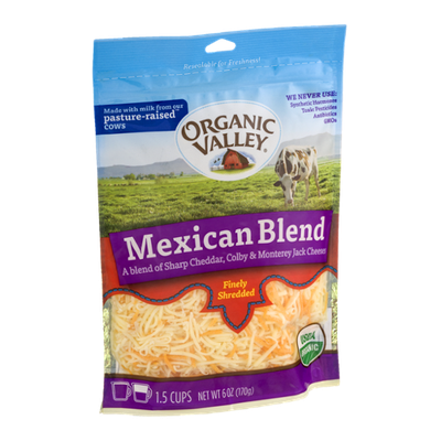 Organic Valley® Mexican Blend Cheeses Finely Shredded