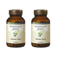GNC Herbal Plus Dandelion Root Capsules 550mg - 100 Count (Two Bottles each of 100 Capsules)