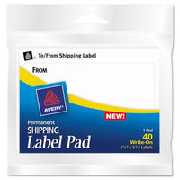 Avery 45280 Permanent Label Pads- 3 x 4- White- 40/Pack