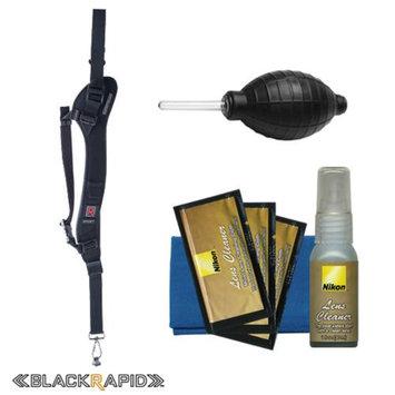 BlackRapid RS-Sport-2L Extreme Sport Slim Camera Strap (Left Handed) with Nikon Cleaning Kit for Nikon Digital SLR 1 V2, V3, J3, D3200, D3300, D5200, D5300, D7100, D610, D800