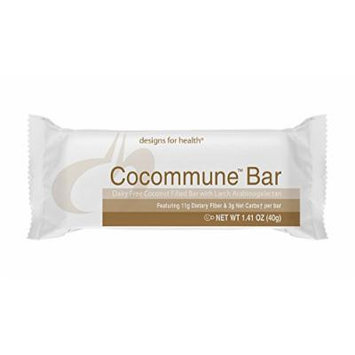 Designs for Health , Cocommune Bar , Delicious Coconut Bar , Prebiotic Dietary Fiber , Product Shipped Fresh with Cold Packs , 1 Box of 18 Bars