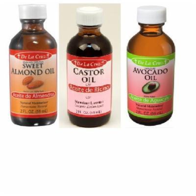 Almond Oil - Aceite De Almendras + Pure Avocado Oil + Castor Oil - Aceite De Ricino - Laxative, 2 Oz. Ea. De La Cruz