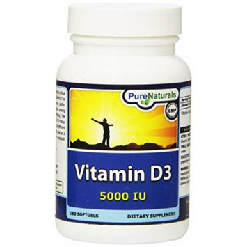 Pure Naturals PN-077 Vitamin D3 5000 IU Softgels, 180 Count