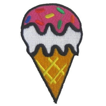Okitani Ice Cream Cone Iron On Applique Patch Kids Sprinkles