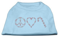 Mirage Pet Products 522508 SMBBL Peace#44; Love#44; and Candy Canes Shirts Baby Blue S 10