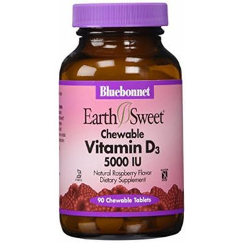 Bluebonnet Earth Sweet Vitamin D3 5000 IU Chewable Tablets, 90 Count
