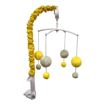 Bacati Dots/Pin Stripes Musical Mobile, Gray/Yellow
