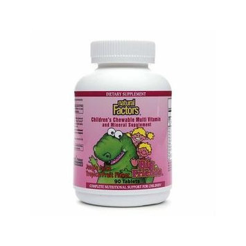 Natural Factors Big Friends Children's Chewable Multi Vitamin, Jungle Juice Tropical Fruit 90 tablets