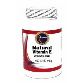 Natural Vitamin E with Selenium 400 IU/50 mcg 200 Capsules # BioPower Nutrition