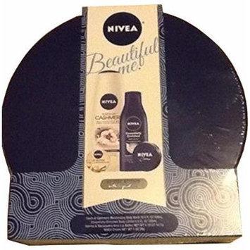 Nivea Beautiful Me Gift Set 4 Piece Touch of Cashmere Body Wash 16.9 Fl Oz, Essentially Enriched Body Lotion 6.8 Fl Oz, Vailla & Macadamia Kiss Lip Butter 0.59 Oz, Nivea Creme 29g