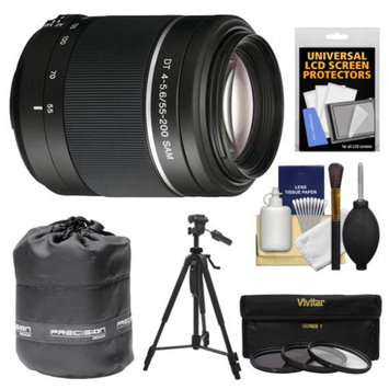 Sony Alpha 55-200mm f/4-5.6 DT SAM Zoom Lens with Tripod + 3 UV/ND8/CPL Filters + Accessory Kit for SLT-A37, A57, A58, A65, A77 II, A99 DSLR Cameras