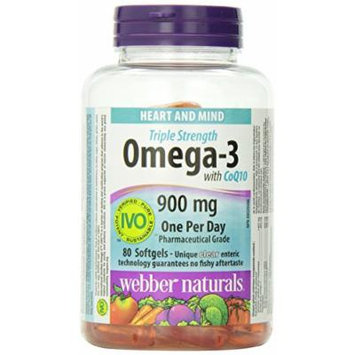 Webber Naturals Triple Strength Omega-3 with CoQ10 enteric coated 900 mg Omega-3 (EPA • DHA)/ 100 mg CoQ10, 80caps