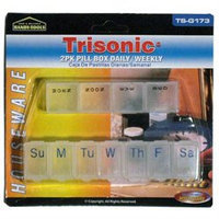 Trisonic Small Weekly Pillbox Pill Box 2 Case Reminder Organizer Medicine Container 7day
