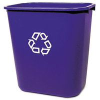Rubbermaid Medium Deskside Recycling Plastic Container, Rectangular - Blue