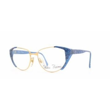 Paloma Picasso 3804 46 Gold and Blue Authentic Women Vintage Eyeglasses Frame