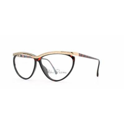 Paloma Picasso 3753 30 Gold and Red Authentic Women Vintage Eyeglasses Frame